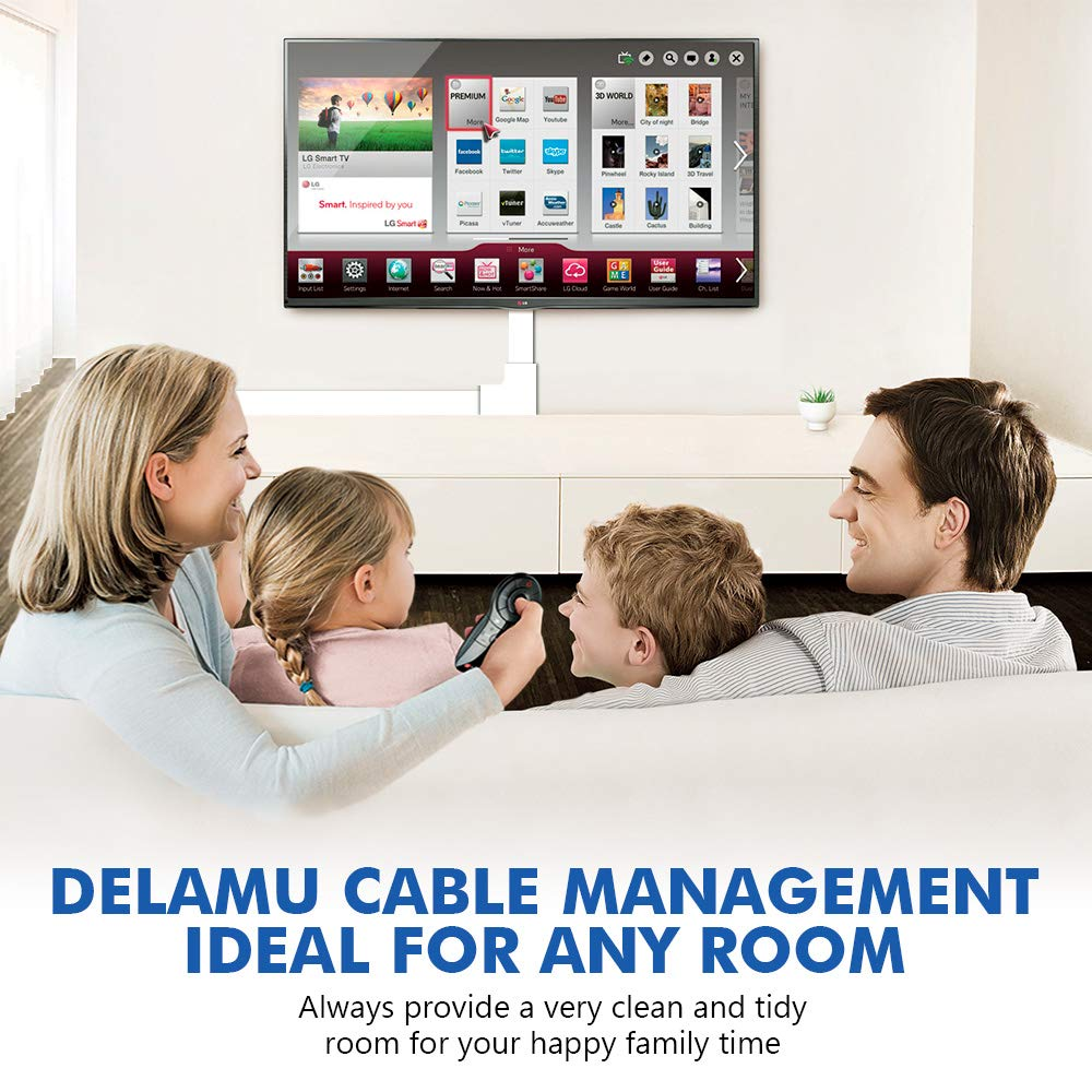 314'' Cable Management Channel, PVC Cord Covers Raceway Kit, Paintable Cord Concealer System Covers Cables, Cord Wires, Hiding Wall Mount TV Power Cords in Home Office, 20X L15.7in X W0.95in X H0.55in by Delamu (Image #6)