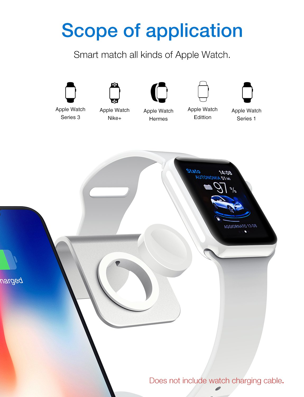 Bestand H05-Grey 3 in 1 Aluminum Apple iWatch Stand, Airpods Charging Station, Qi Fast Wireless Charger Dock for iPhone X/8/7/6s Plus Samsung S8 and other Qi-Enabled Devices, Grey by Bestand (Image #4)