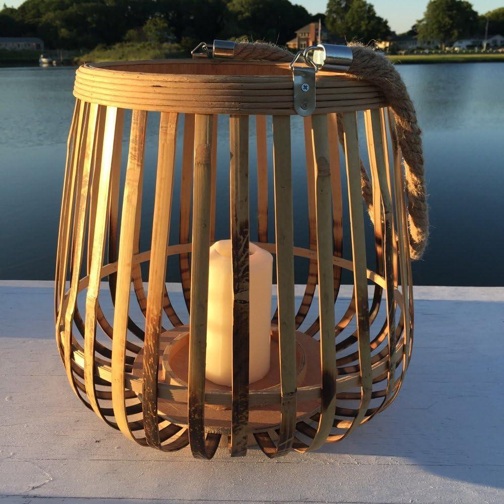 30x31cm Windlicht Antonia Bambus braun