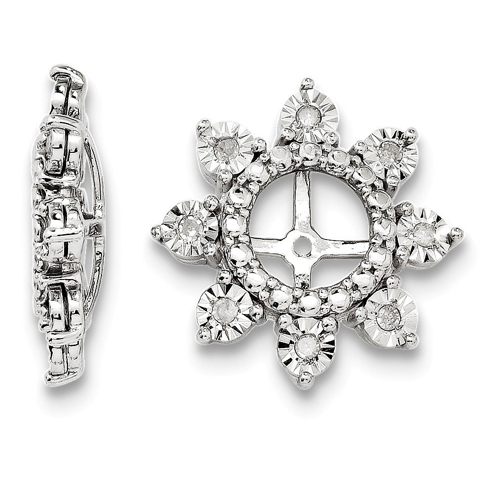 Sterling Silver Rhodium Diamond Earring Jacket