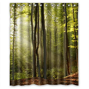 RELAX Green Tree Forest Fog Fairy Land Waterproof Shower Curtain  60u0026quot;(w) X