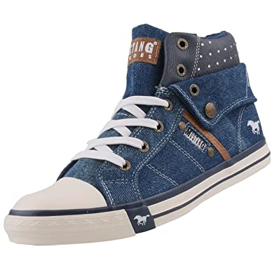 new product 2aac9 f892a Mustang Damen High Top Sneaker Blau (Jeans)