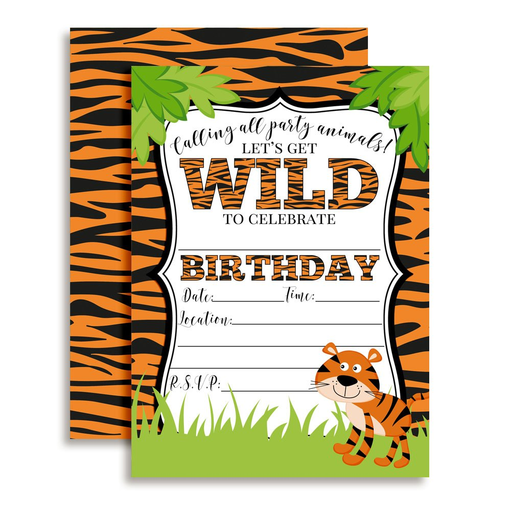 Tiger Birthday Party Invitations for a Wild time, 20 5''x7'' Fill in Cards with Twenty White Envelopes by AmandaCreation.