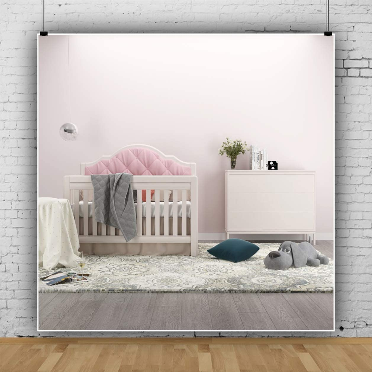 YEELE Kids Room Backdrop 10x10ft Modern Baby Crib Indoor Photography Background Fashion House and Home Design Kids Newborn Toddler Infant Portrait Photo Studio Props Digital Wallpaper