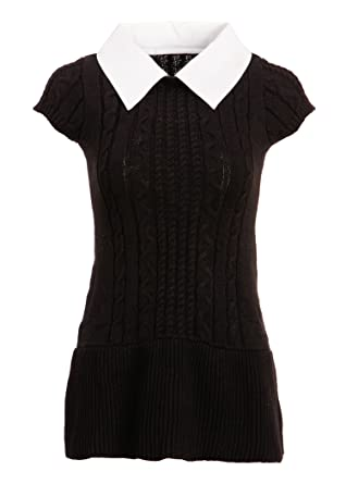 Amazon.com: Womens Black Cable Knit Sweater Dress with White ...