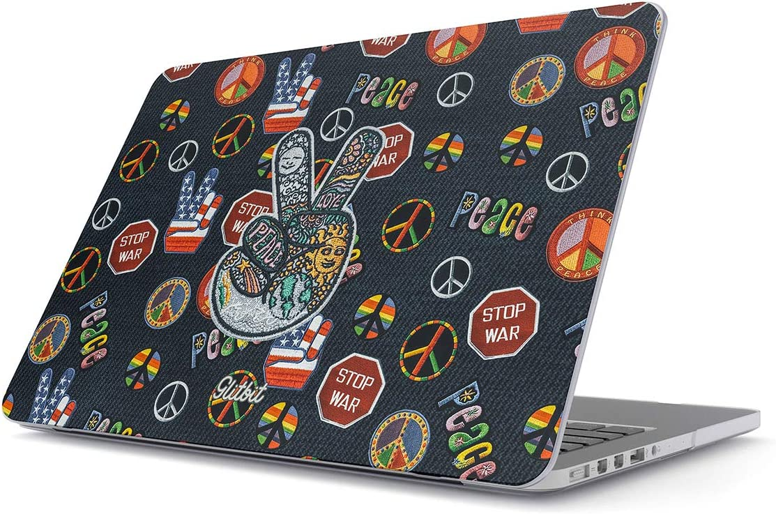 Glitbit Hard Case Cover Compatible with MacBook Pro 13 Inch Case A2289 / A2251 with or Without Touch Bar Peace Hippie Embroidered 70s 80s 90s Hipster Tie Dye Stop War