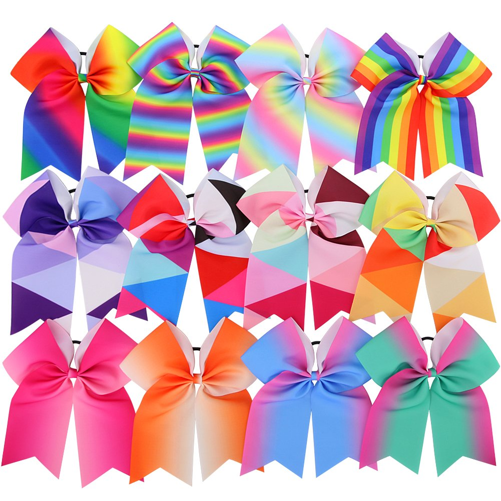 Myamy 7.5 in Large Rainbow Cheer Hair Bows Cheerleading Elastic Pony Tail For Teens Girls Kids Infant 12pcs