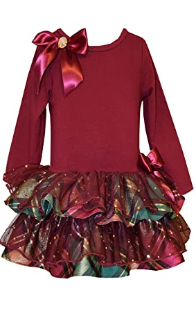 7f1d1161590e Bonnie Jean Girls' Christmas Holiday Plaid Sparkling Ruffles Dress (2T,  Burgundy)