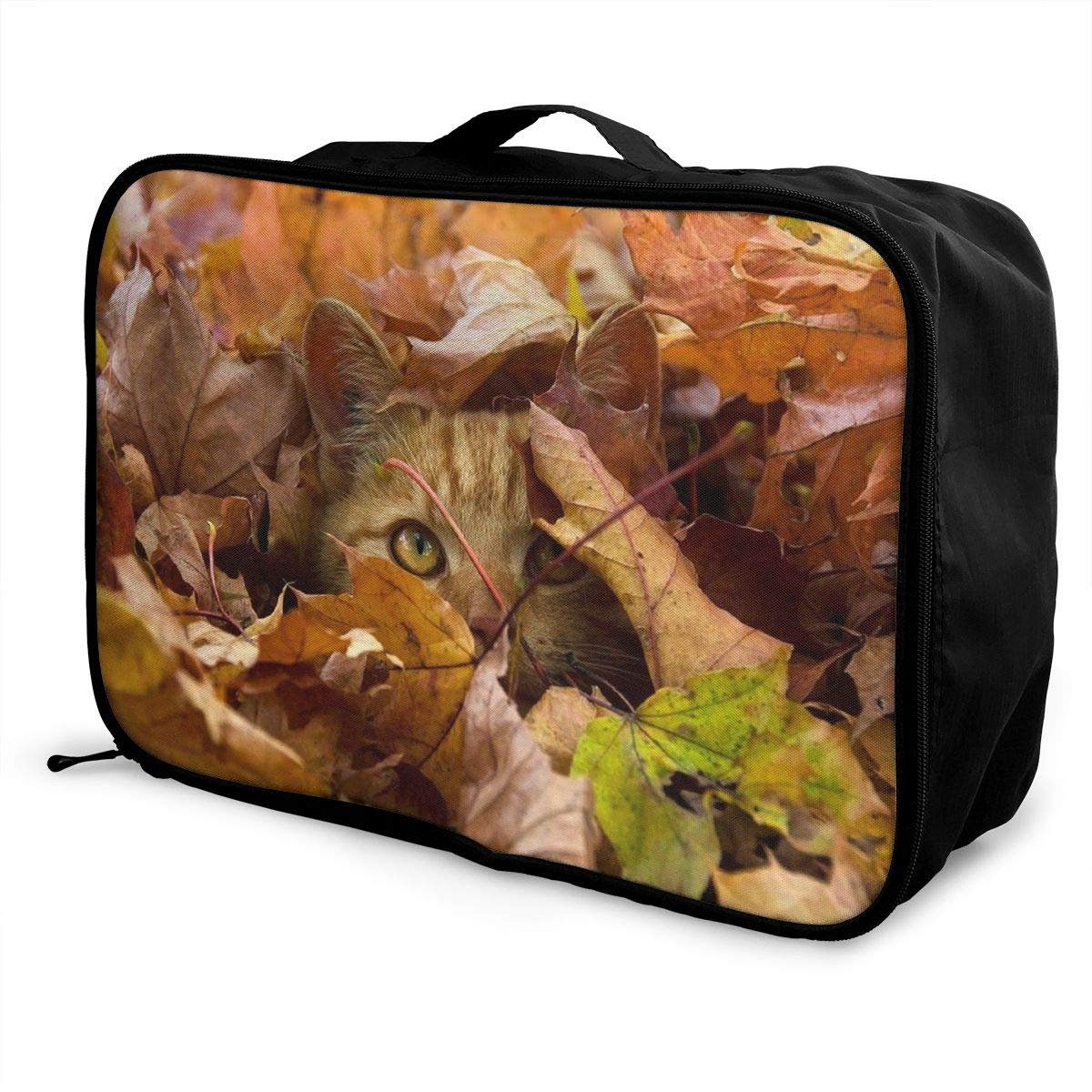 Travel Luggage Duffle Bag Lightweight Portable Handbag Animal Cat Leaves Pattern Large Capacity Waterproof Foldable Storage Tote