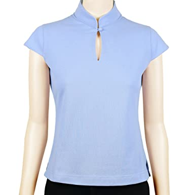 Sinologie - Polo - Cuello Mao - Mujer Azul Celeste S: Amazon.es ...