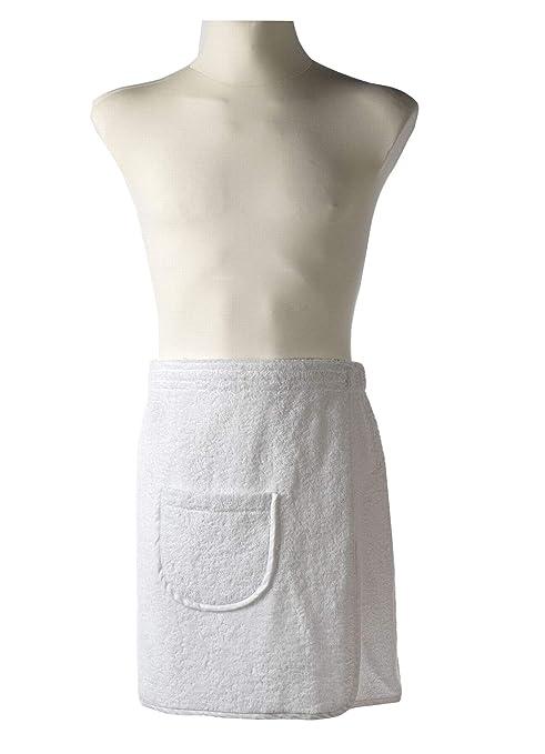 Carenesse - Toalla de sauna para hombre (con bolsillo y cierre de velcro, algodón