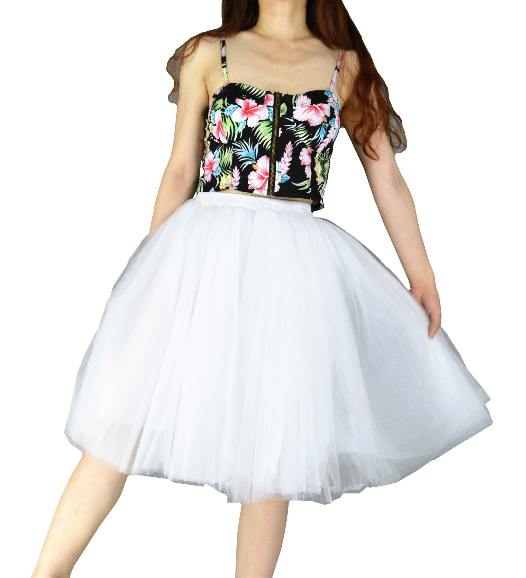 YSJ Women's Layered Tutu Tulle Knee Length A Line Prom Party Skirts (One Size, White)