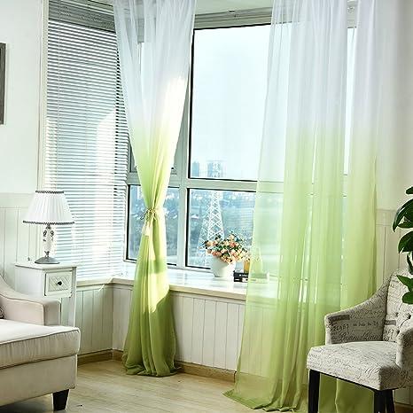 Pueri Cortinas De Gasa Para Salón De Color Degradado 100x270cm Pañales Transparente Decorativos De Ventana 2pcs Verde