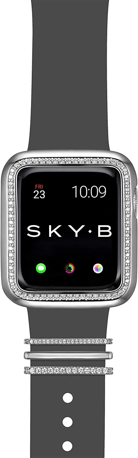 SKYB Halo Apple Watch Case with Milan Watch Band Charms and Silicone Sports Band Set - Rhodium Plated with Cubic Zirconia for 38mm Apple Watch Series 1,2,3