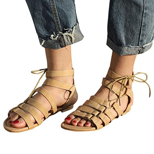 cb15fd5609d4 Women Bohemian Casual Sandals Gladiator Flat Peep-Toe Sandals Shoes Tie up Ankle  Strap Flat
