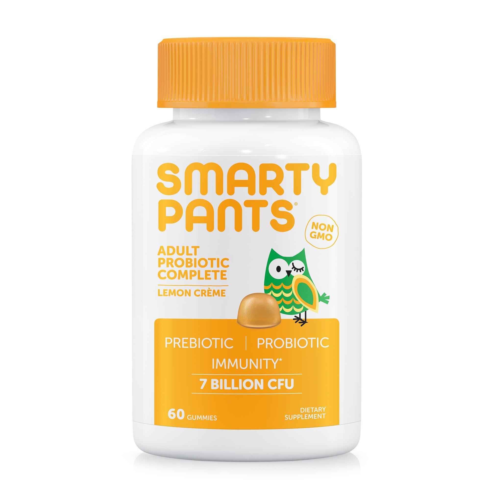 SmartyPants Adult Probiotic Complete; Probiotics & Prebiotics; Digestive & Immune Support* Gummies; 7 billion CFU, VEGAN, NON-GMO, NO REFRIGERATION REQUIRED, Lemon Creme; 60 COUNT, 30 DAY SUPPLY