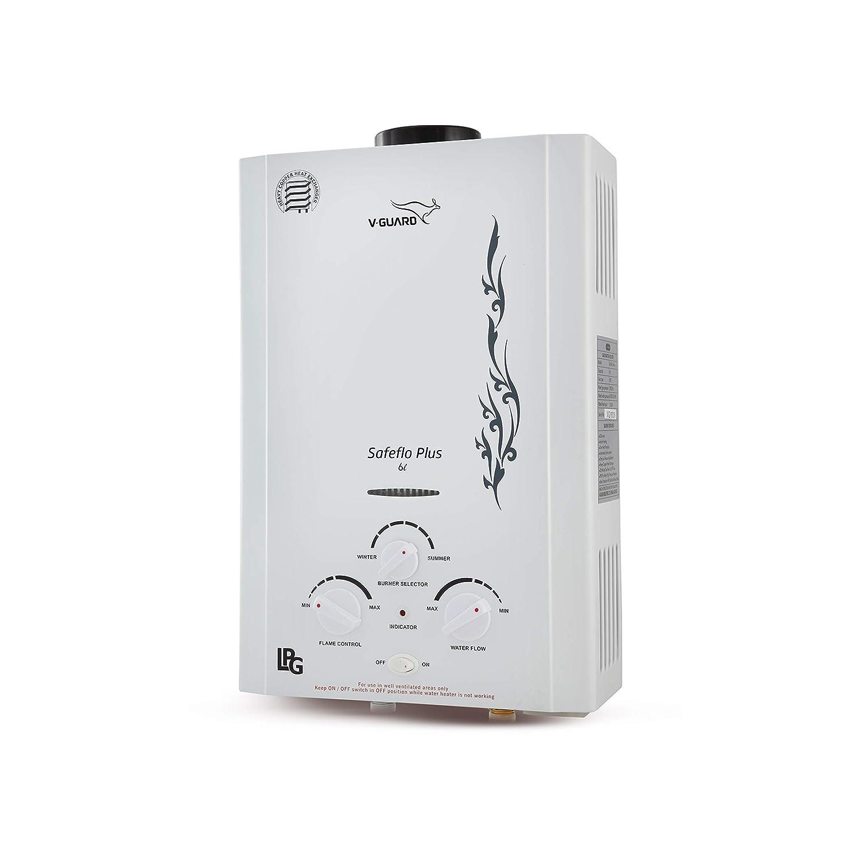 V-guard 6 L Safefloplus Gas Geyser(White)