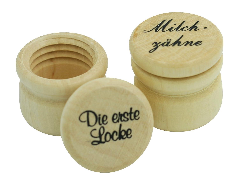 Holzdosen Set Erste Locke und Milchzähne (klein) Gico