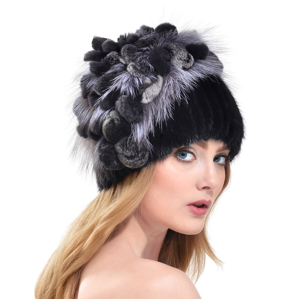 Bellefur Women Real Knitted Mink Fur Hat Cap with Looped Top