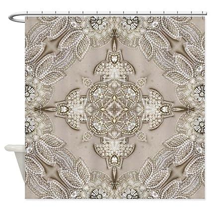 CafePress Glamorous Girly Rhinestone Lace Pea Decorative Fabric Shower Curtain 69quot