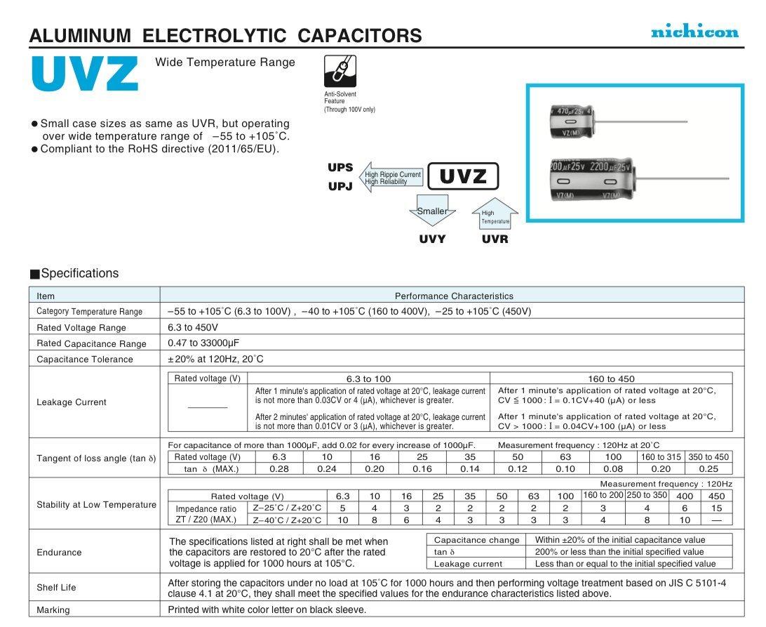 Pack of 3 12.5 X 20mm, Nichicon 3300uf 10v Aluminum Electrolytic Capacitors 1000h @ 105/°C Panasonic UNZ Series Radial Leads