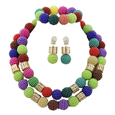 AfricanBeads 20mm Red African Beads, Nigerian Wedding African Bridal Jewelry Set,African Costume Beads Jewelry Set