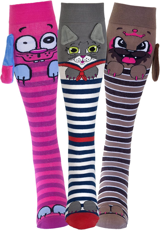 3 PACK Funny Wacky Animal 3D Socks for Girls | Unicorn, Owl, Cat, Dog | Age 9+