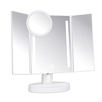 Amazon.com : Trifold LED Lighted Makeup Mirror with Touch Screen ...