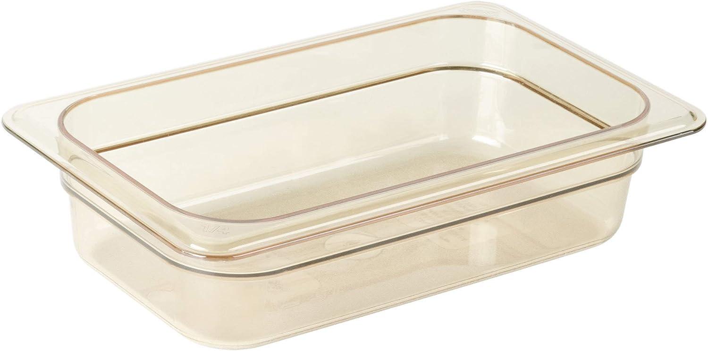 """Cambro 1/4 GN High Heat Food Pan, 2 1/2"""" Deep, Amber, 42HP-150"""