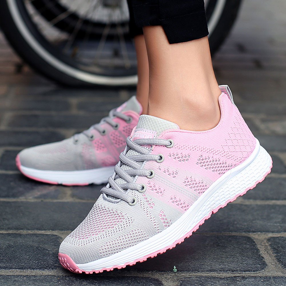 Womens Casual Sneakers Lace-Up Outdoor Sport Walking Running Breathable Mesh Shoes