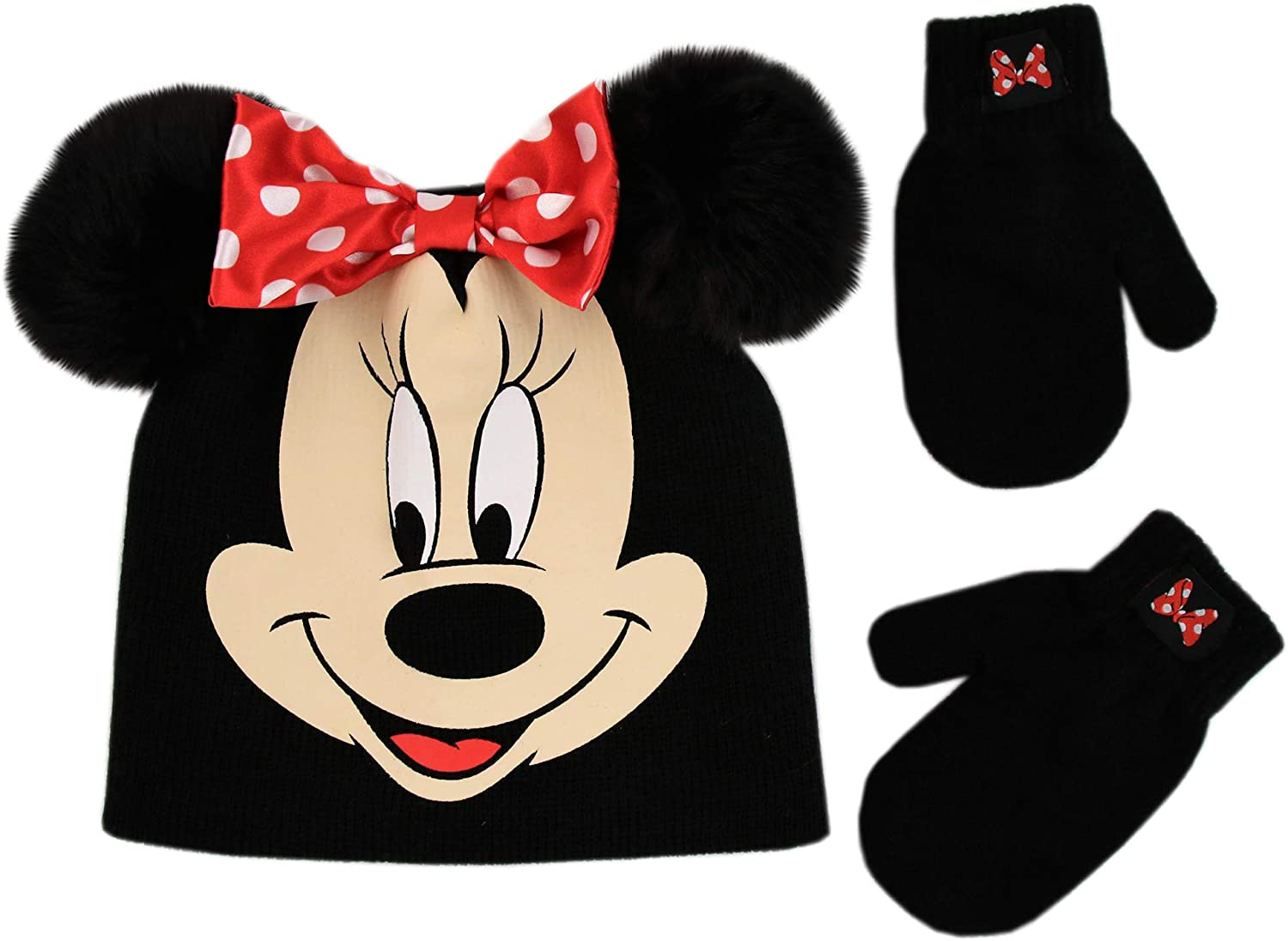 Disney Minnie Mouse Baby Toddler Girls Winter Hat and Mitten Set Pink