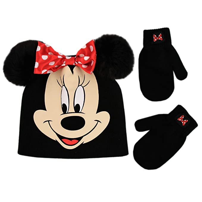 523cd07a182 Image Unavailable. Image not available for. Color  Disney Girl s Toddler  Minnie Mouse Beanie Hat and Mittens Cold Weather Set ...