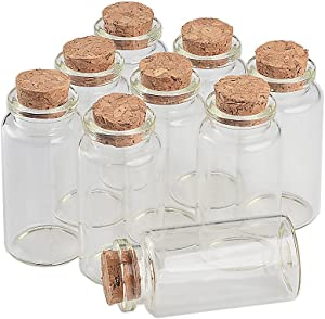TAI DIAN 25ml Glass Bottles with Cork Small Transparent Mini Empty Bottle Glass Vials Jars 50pcs/lot (50, 25ml-30x60x17mm)