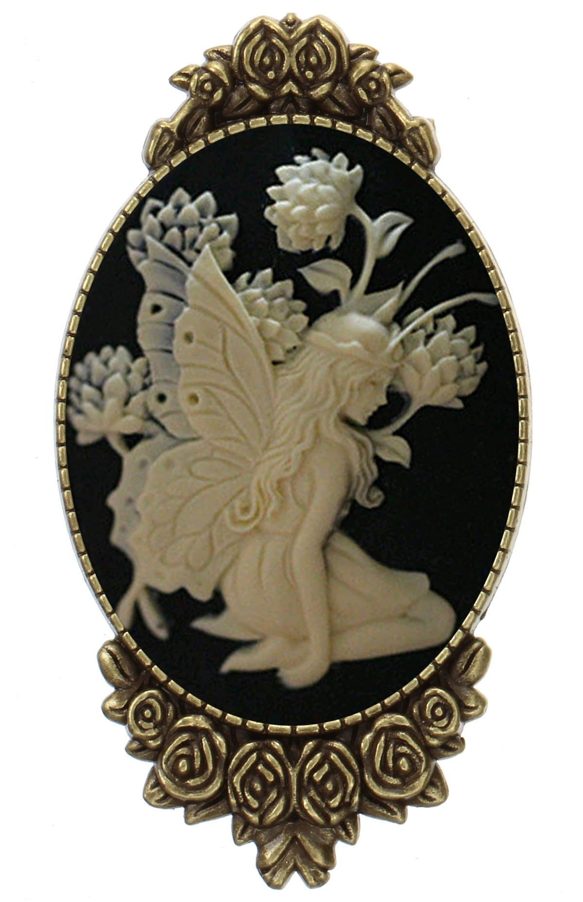 Angel Fairy Brooch Pin Rose Decor Antique Brass Fashion Jewelry Pouch for Gift
