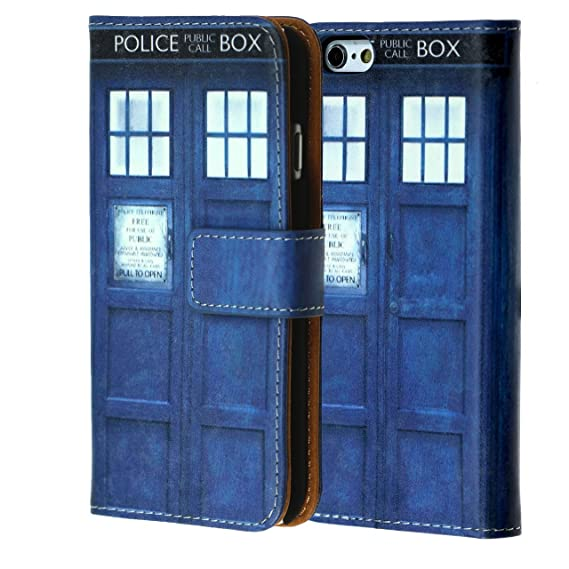 8a5c1a22 iPhone 8 Wallet Case, DURARMOR Tardis Doctor Who Blue Police Box Premium PU  Leather Wallet Case ID Credit Card Cash Slots Flip Stand Wrist Strap Case  ...