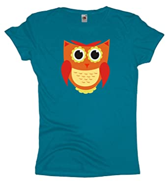 Ma2ca - Orange Eule - T-Shirt -azure-xs