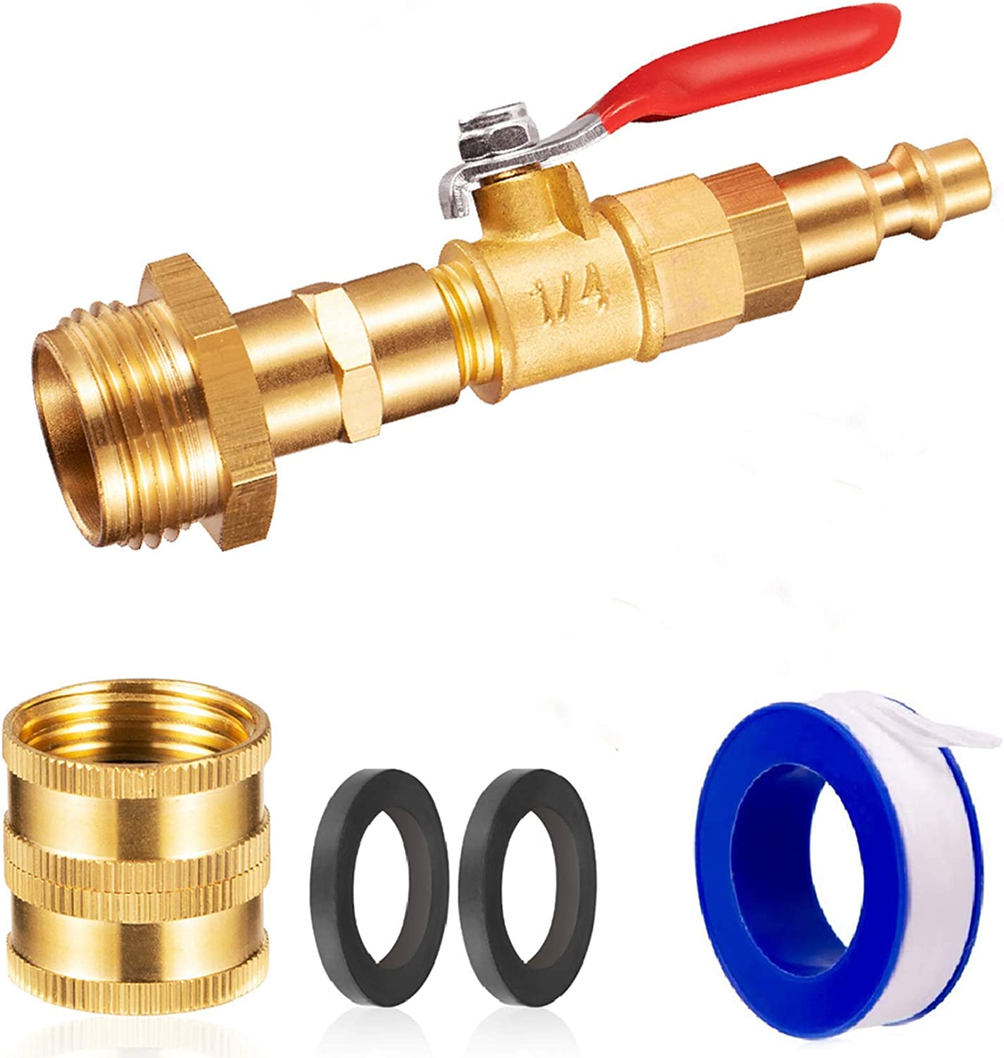 """RV Winterize Blowout Adapter, RV Winterizing Air Nozzle Plug, for Garden Hose Camper Boat Trailer,1/4"""" Male Connect Plug 3/4"""" Male GHT Thread,with Ball Valve for Sprinkler Systems Ground Srinklers"""