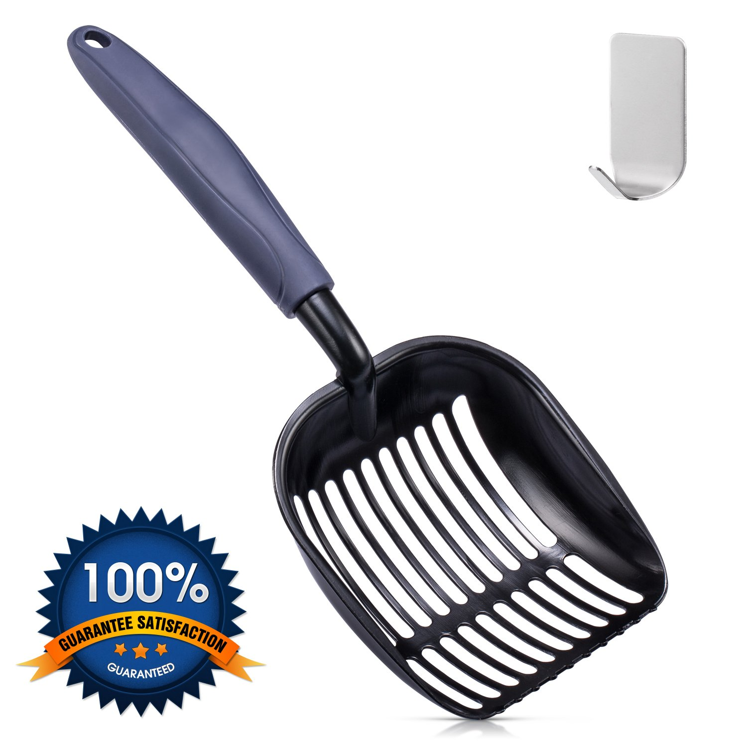 DODODO PET SUPPLIES Cat Litter Scoop, Durable Pet Kitty Kitten Sifter with Deep Shovel, Upgrade Solid Core Long Handle Aluminum Alloy Pooper Scooper with Round Teeth, Metal Holder