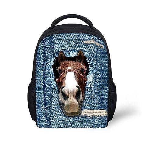 21fd8f21c8b5 Amazon.com | Showudesigns Denim Horse Preschool School Book Bag ...