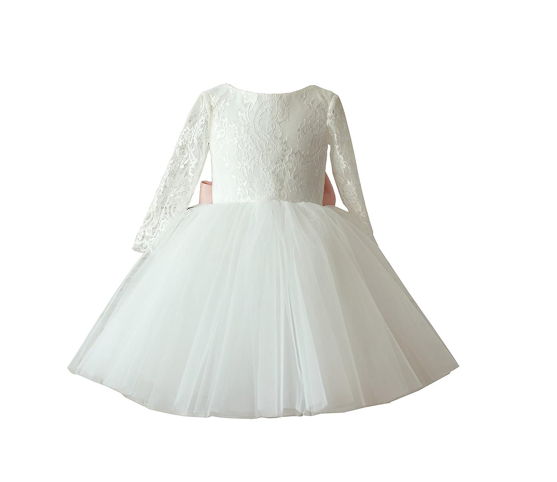 e2aeac30dba Amazon.com  Miama Ivory Lace Tulle Wedding Flower Girl Dress Junior  Bridesmaid Dress  Clothing