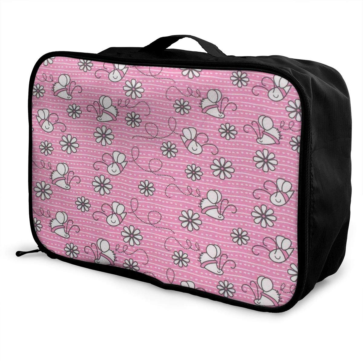 Travel Luggage Duffle Bag Lightweight Portable Handbag Bee Flowers Pattern Large Capacity Waterproof Foldable Storage Tote