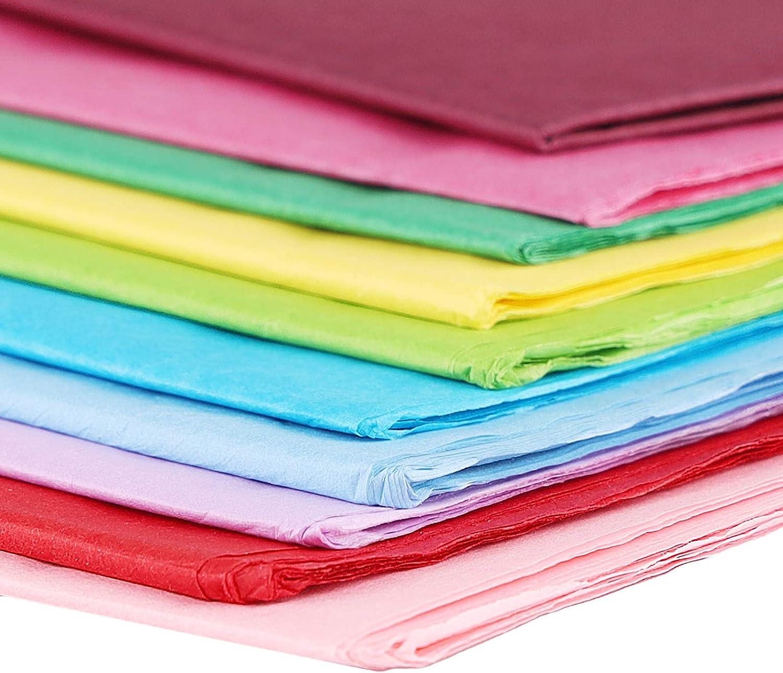 60 Hojas de Papel de Seda 10 Colores Papel Crep/é Papel Artesanal Papel de Colores para Envolver Regalo Arte Artesan/ía Ni/ños Diy 70 X 50 Cm