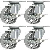 """4 All Steel Swivel Plate Caster Wheels w Brake Lock Heavy Duty High-Gauge Steel Gray (3"""" with Brake)"""