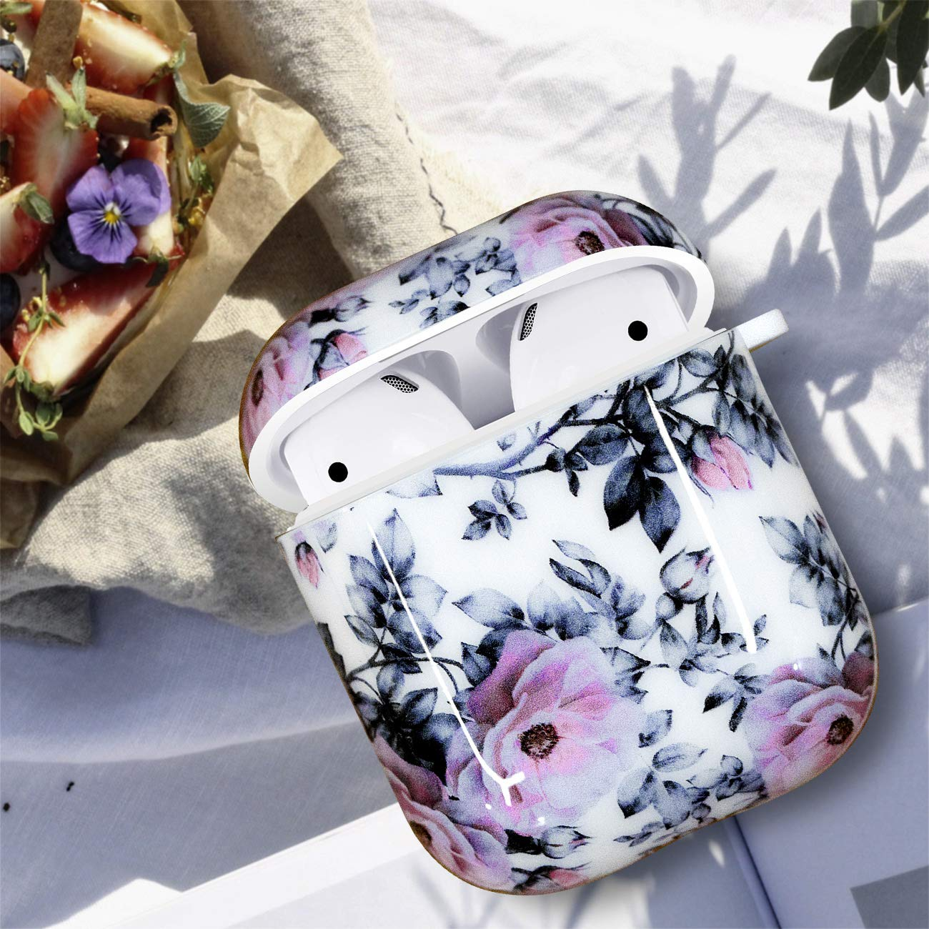 Airpods Case White LitoDream White Marble Airpod Case Accessories Protective Hard Case Cover Portable /& Shockproof Women Girls Men with Keychain for Apple Airpods 2//1 Charging Case