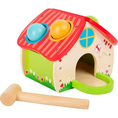 Small Foot Wooden Toys Cute Wooden Hammering House with Hammer and Balls playset Designed for Children 18+ Months: Toys & Games