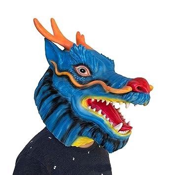 SonMo Máscaras Animales Halloween Decoración Mascara Latex Hombre Máscara Dragón Azul
