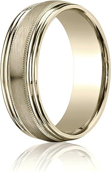7mm Men/'s or Ladies Gold Plated Titanium With Milgrain Edge Wedding Band Ring