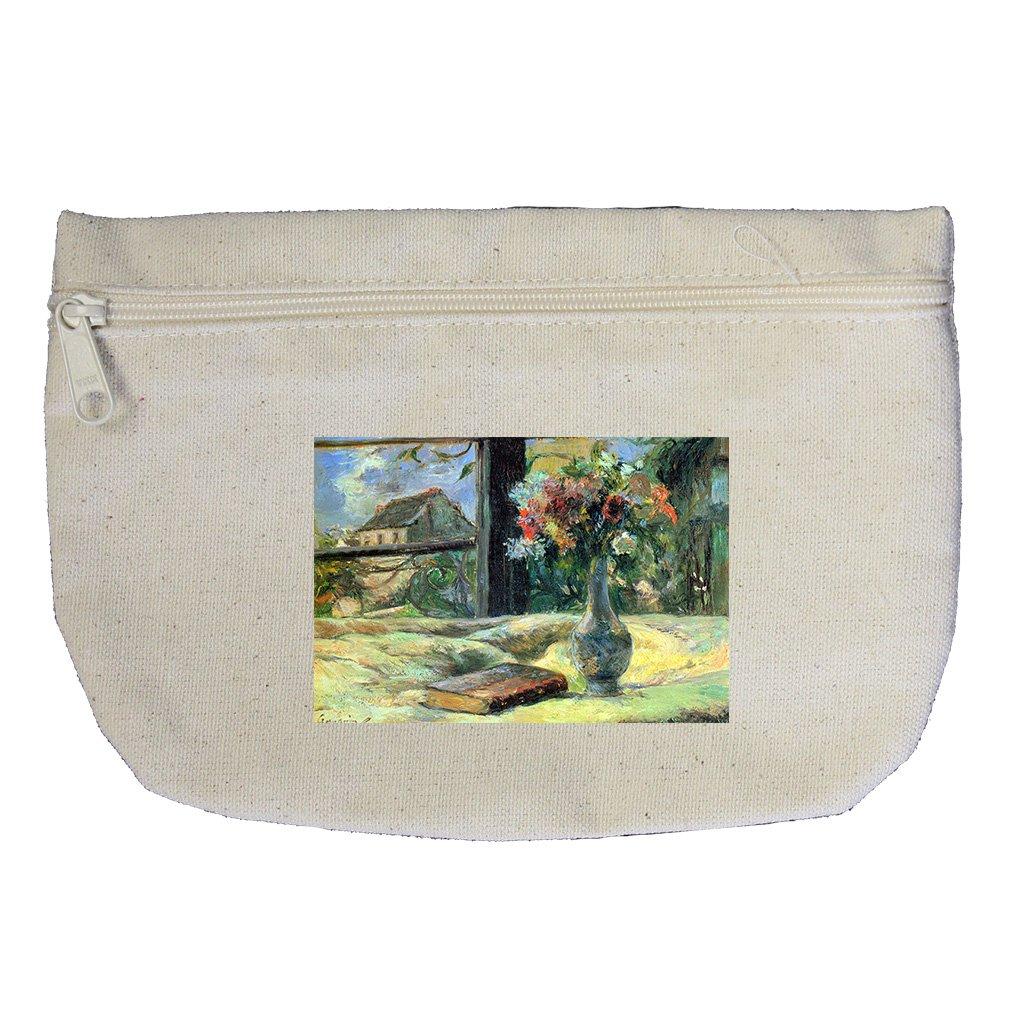 Flower Vase In Window (Gauguin) Canvas Makeup Bag Zippered Pouch