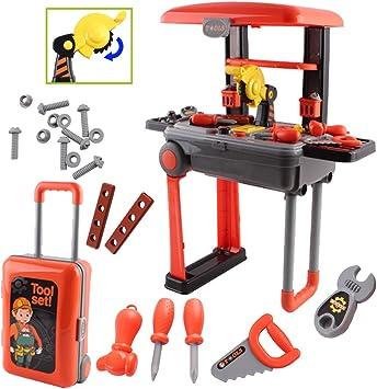deAO Taller Mecánico Set de Herramientas Plegable en Maleta Convertible Maletín de Juegos con Accesorios: Amazon.es: Juguetes y juegos
