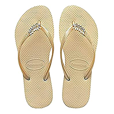 43e1ad1e66a0 Havaianas Women s Slim Lux Swarovski Leaf Sandal Flip Flop (Beige ...